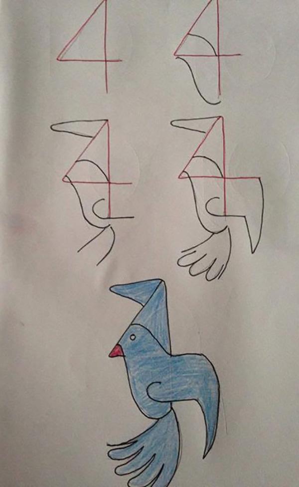 3=小灰兔,5=袋鼠,寥寥几笔,用数字画出可爱的小动物