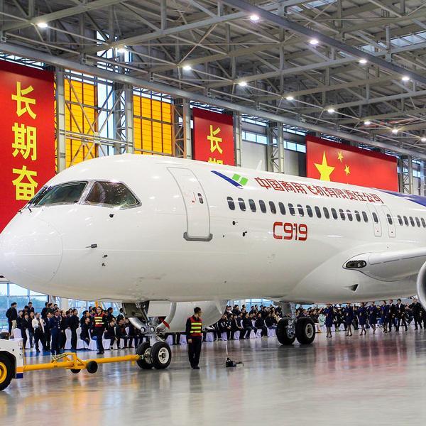 中国商飞国产大型客机c919首架机在上海总装下线仪式