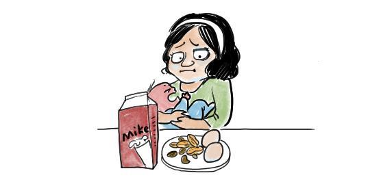 宝宝喝牛奶矢量图