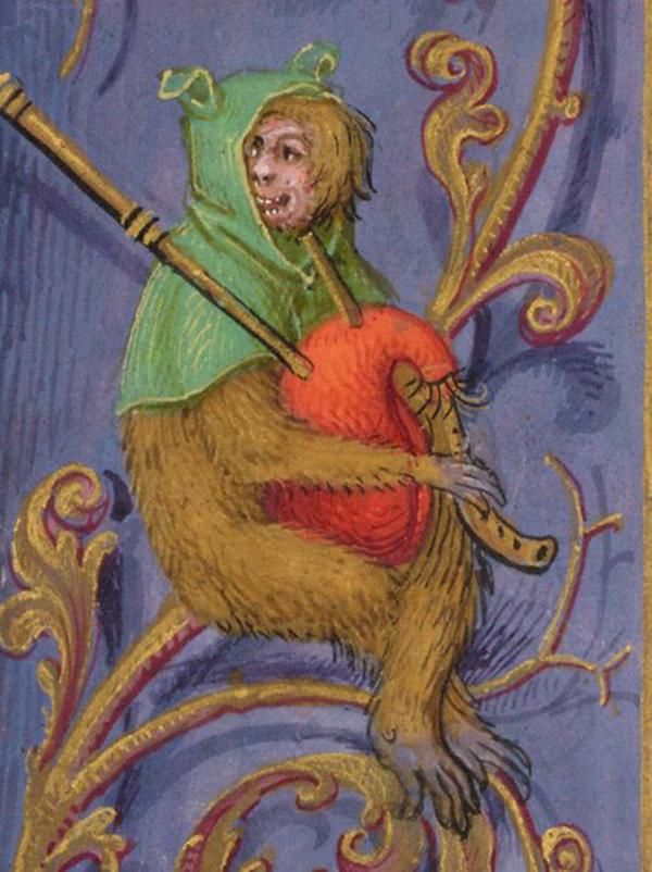 技艺,娱乐,劳作……有什么人类活动是猴子们不曾在手抄本页缘戏仿的?图片