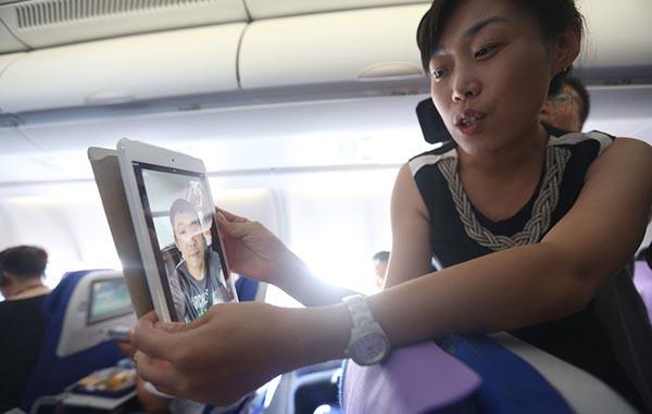 旅客在飞机上可以像在地面上一样进行网上