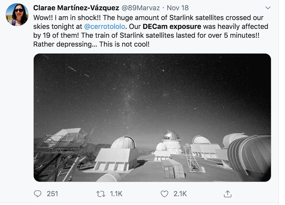 """CTIO天文学家说,黑能量探测相机的曝光受到了19个""""星链""""计划卫星的主要影响"""