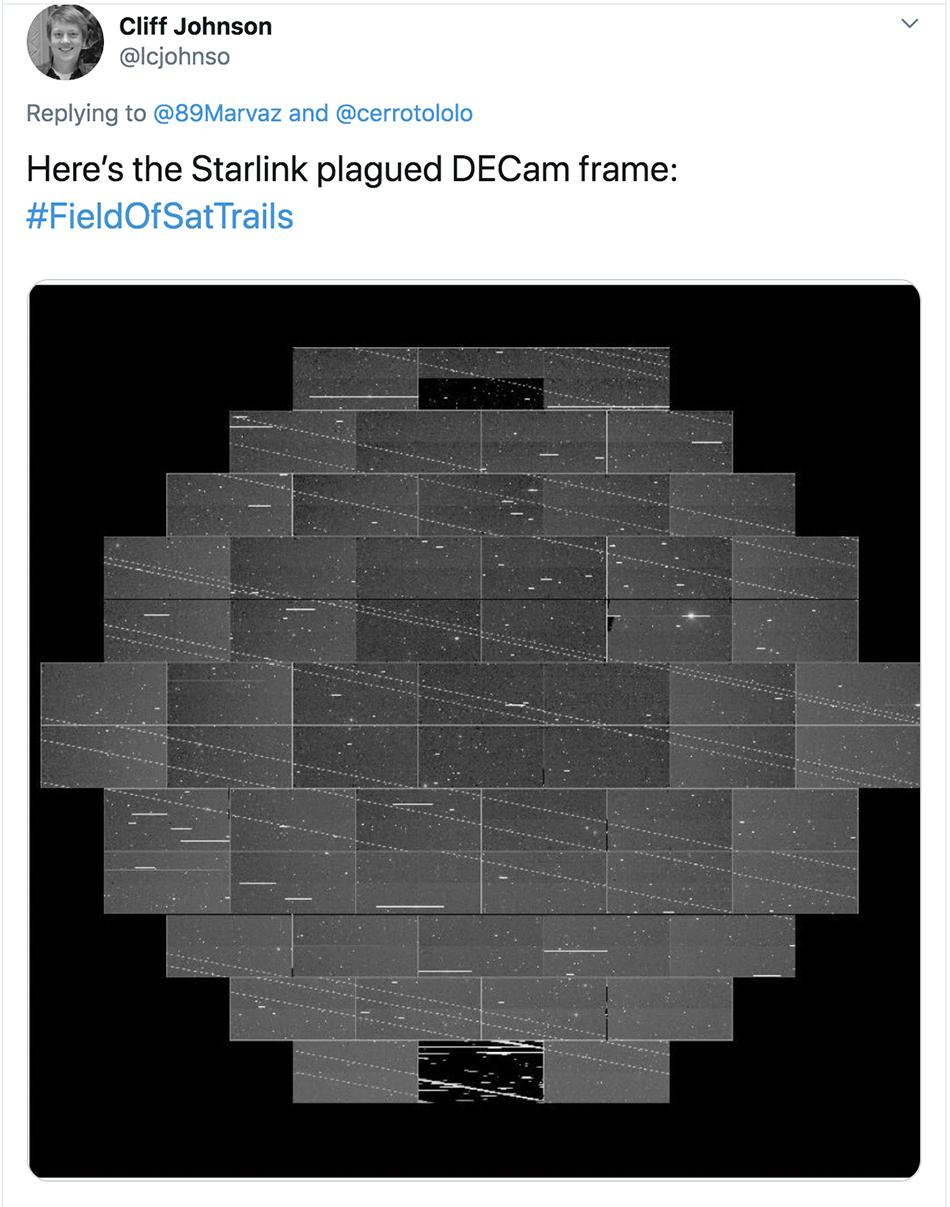 """来自黑能量探测相机追踪到的""""星链""""计划卫星踪迹"""