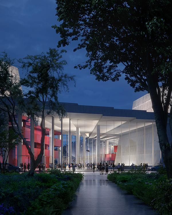 建筑的主立面为透明的玻璃幕墙。