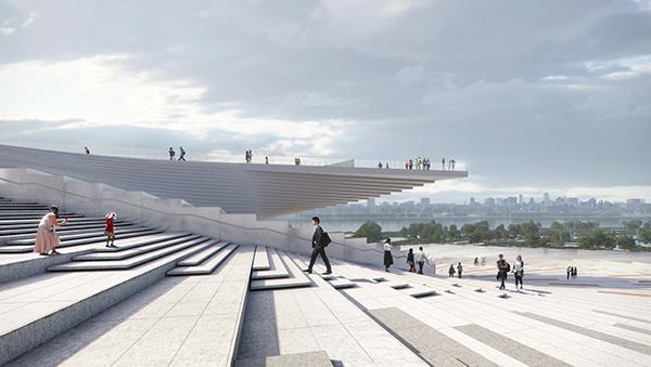 建筑辨识度最高的是螺旋楼梯,既是楼梯也是观景台。