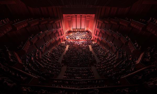 观众厅内部均采用深红色调的木材。
