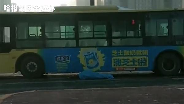 哈尔滨一公交车撞倒并碾压行人致其身亡,司机被警方带走调查