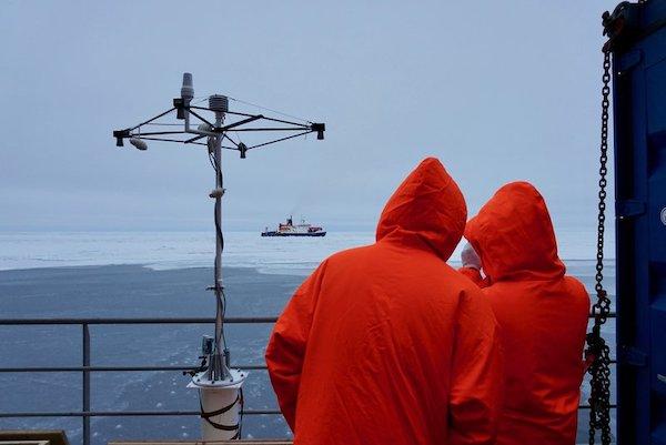 北极星号和费德洛夫院士号这两艘船上的科学家一起搜寻一块合适的浮冰。