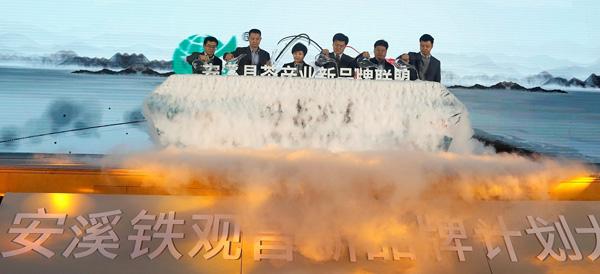 """1月12日,在中国茶叶流通协会和安溪县人民政府的指导下,""""安溪县茶产业新品牌联盟""""正式成立。(张磊 摄)"""