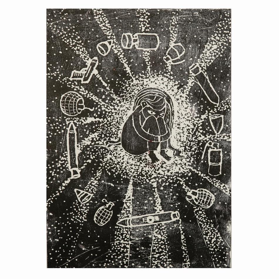 陈政宇《战争到来的那天》油印版画2019年度公众组(11岁及以上组别)一等奖