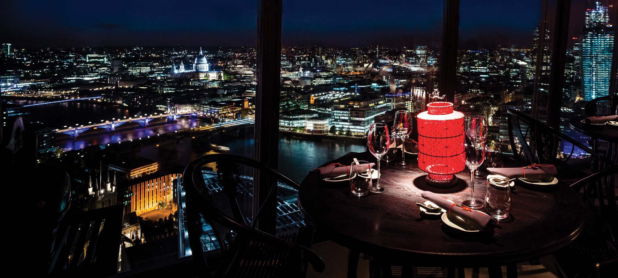 """碎片大厦33楼的中餐厅""""胡同"""",窗景也完全对得起""""伦敦最美中餐馆""""的名号。The Shard 图"""