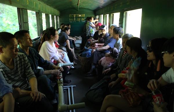 车厢里的游客