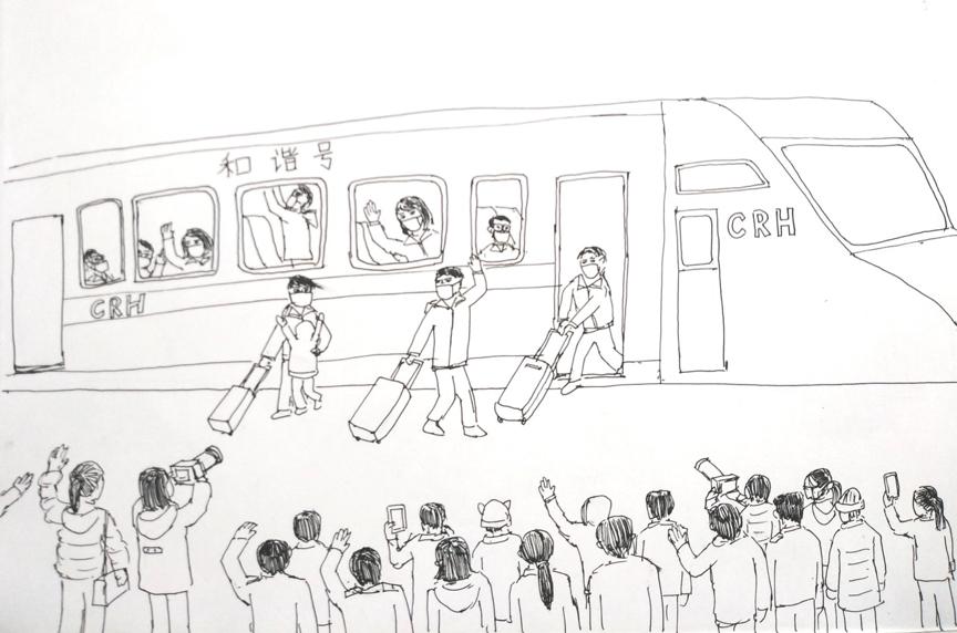 经过精心地人员和物资准备之后,我们从南京南站乘坐高铁出发,和送行的领导,亲属朋友们挥手告别。