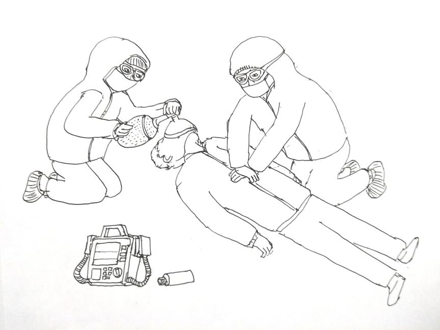 除了日常工作,有时还要处理突发情况。一位60多岁的患者在排队办理住院手续时突然倒在地上,心跳呼吸骤停。我们立刻冲上去进行心肺复苏,病人转危为安得到了进一步治疗的机会。