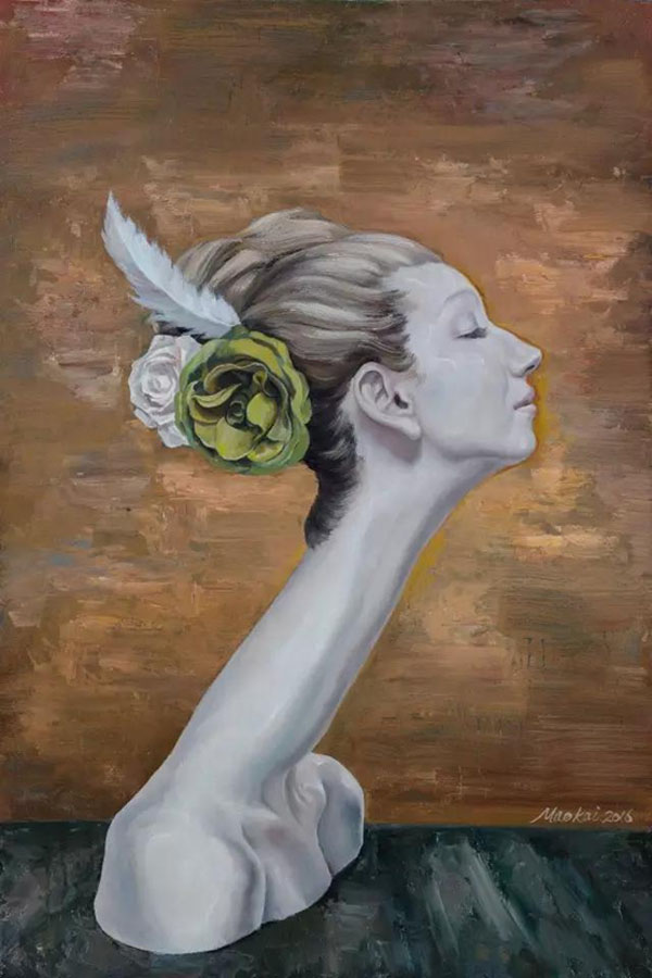 2016年《高等动物之丛林女人》布面油画90x60cm