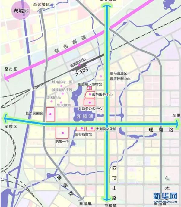 """工程,位于肥东县东部新城核心区 """"三馆一中心""""分别为规划博物馆"""