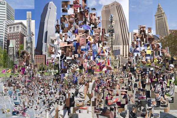 由上千张人像照片按金字塔形状拼贴而成