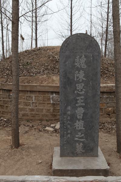 曹植墓在后七步村的校园里