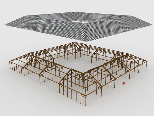 徐大纬对它们的木结构建了三维模型