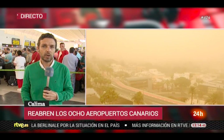 西班牙电视网RTVE记者直播八个机场开放情况 RTVE新闻视频截图