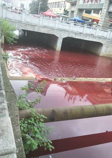 江西九江学院门前河水呈现郑州铁路职业技术学校血红色,环境监察部门已在排查
