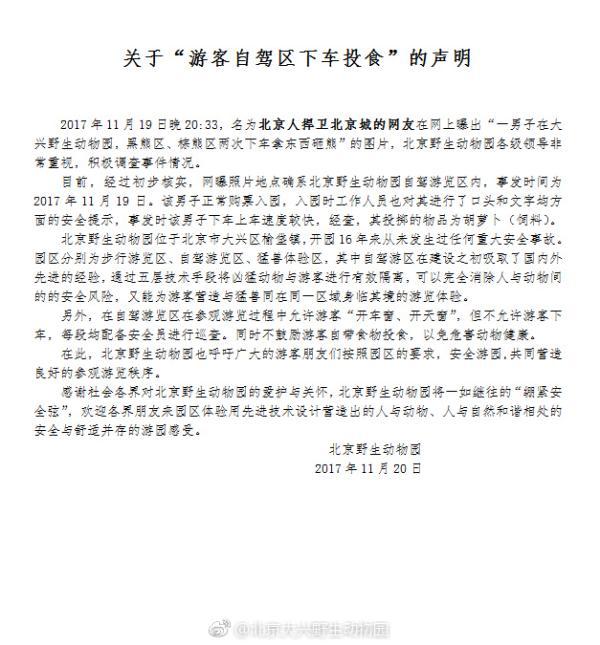 北京野生动物园证实游客下车砸熊,投掷物品为胡萝卜(饲料)