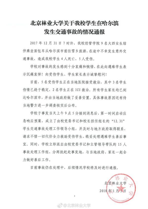 六合彩官网北京林业大学9名女生从哈尔滨前往雪乡途中遇车祸:4死5伤