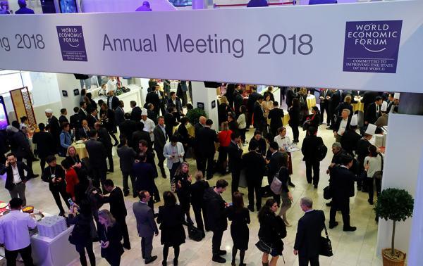 当地时间2018年1月24日,瑞士达沃斯,达沃斯论坛举行第二天会议.