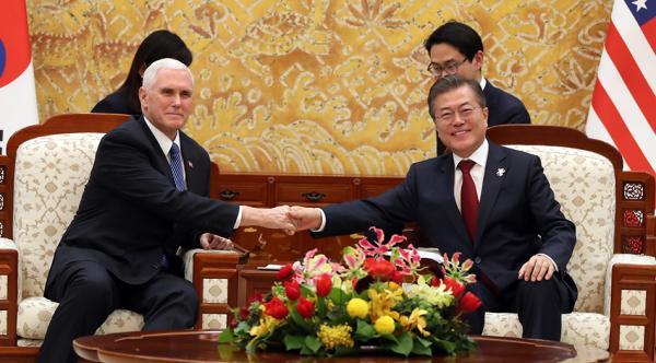 六合同彩官方网平昌冬奥|文在寅见彭斯强调韩美合作,称将把朝鲜拉回对话桌