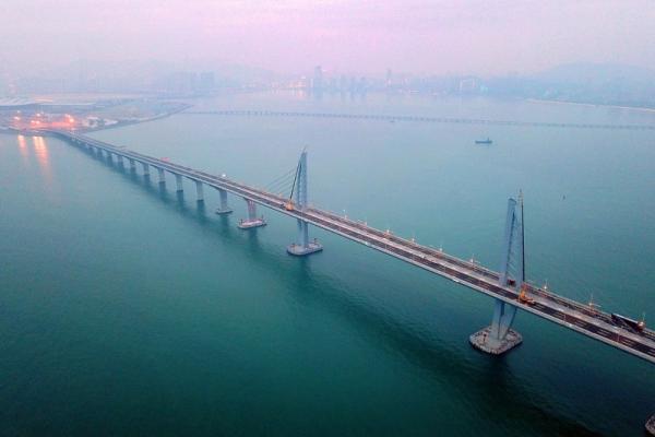 俯瞰港珠澳大桥三座通航斜拉桥之一九洲段(2月9日摄). 视觉中国