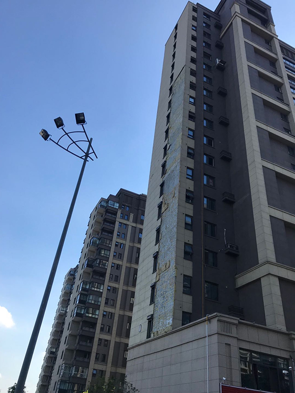 绿地悦峰公馆交付不到一年被台风刮落100多平方米外墙